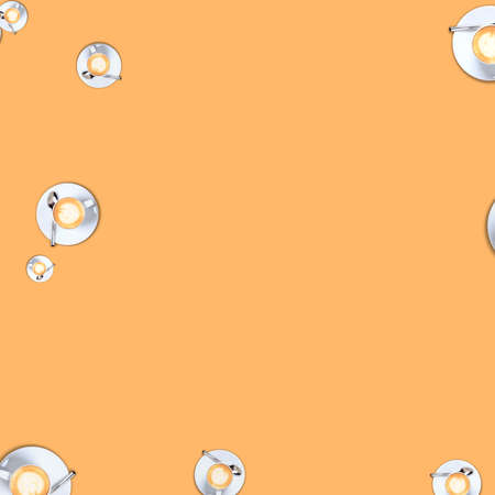 Coffee cup random pattern on solid pale orange background. Monochrome bright image. Modern futuristic design in square format