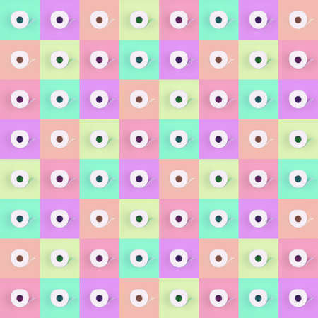 Pattern of toilet paper rolls on pastel multicolor tiles. Social distancing, shopping, options concept, bright colors, optimistic multipurpose drop. Square format background with place for text