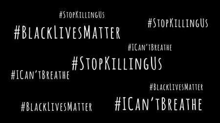 I Cant Breathe, Stop Killing Us and Black Lives Matter wording on black drop. Antiracism and equality movement concept. Wide screen banner format