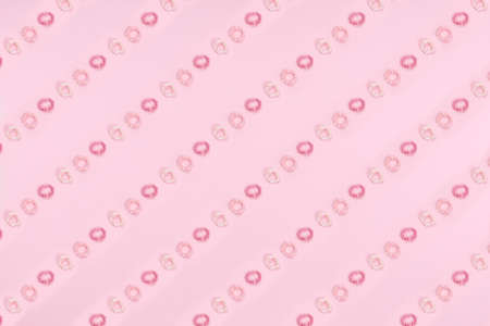 Pattern of pink hair accessories on pink drop. Beauty and self care, time for self, girly time concept. Place for text