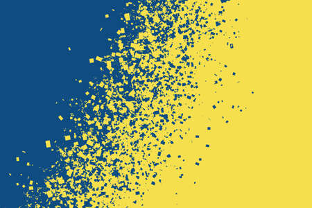 Blue color breaking into pieces to form new yellow. Change of the color of the year concept. Horizontal