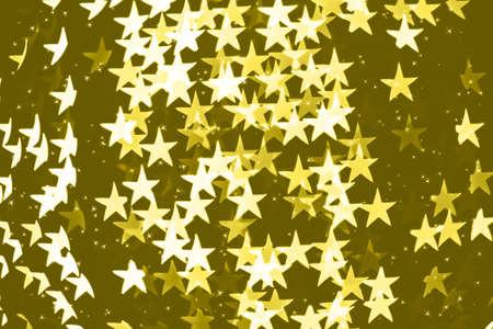 Star shaped holiday blurred yellow bokeh background. Christmas background with sparkles. Celebration background. Horizontal.
