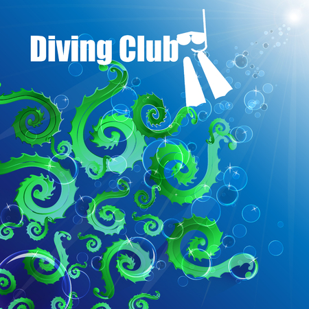 Diving club. Colored bubbles, deep expanse of water.