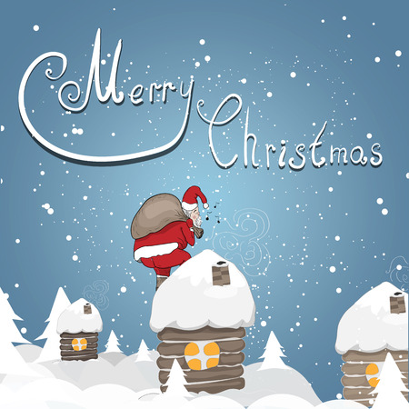 illustration with the image of Santa, who bears gifts.