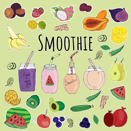 sticker, fruit, decoration, design, smoothie