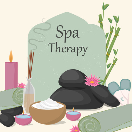 Spa therapy, aromatherapy, towels, oils, massage. The background for the spa.