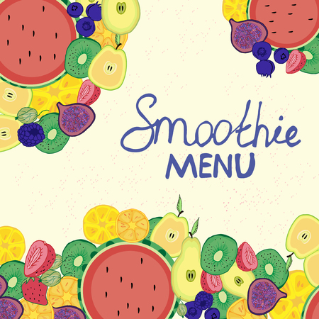 Bar card, summer cafe, menu, colorful, juicy, fruit decoration, cartoon.