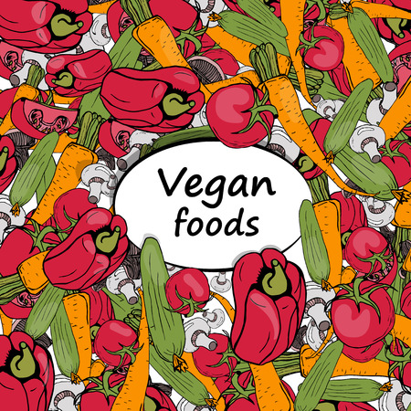 vintage background, vegetarian food, natural vegetables 向量圖像