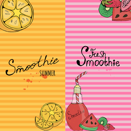 Banner, business card, flyer, beautiful background, detox, vegan, lettering, fruit, tableware for smoothies,