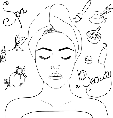 beauty spa, self-care, spa salons, relaxation. Can be used for business cards, salon ads, web sat, background.