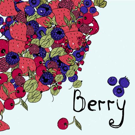 Berry background, bright graphics, strawberries, cherries, raspberries, blackberries, currants, gooseberries.