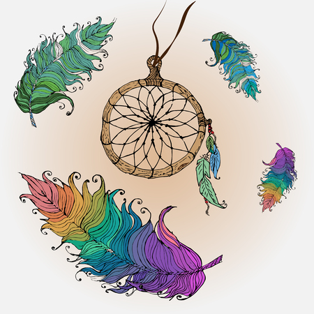 Postcard Dreamcatcher painted with feathers in the style of boho