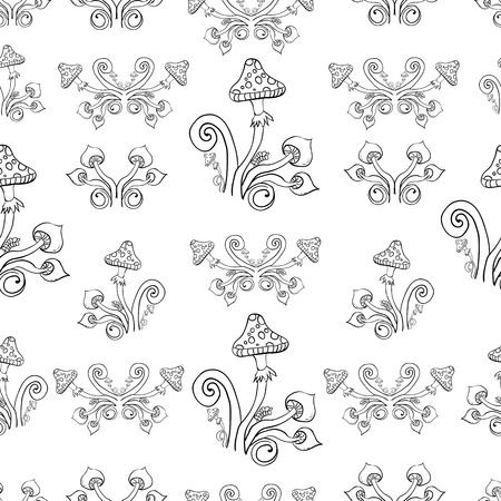 seamless background, mushrooms, circles, coloring, elements.