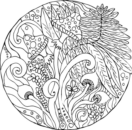coloring, fern of the forest, black and white image, anti-stress