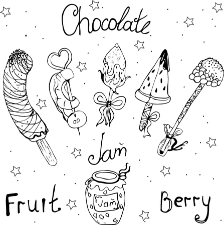 dessert, fruit, raspberries, pineapple, banana, watermelon 向量圖像