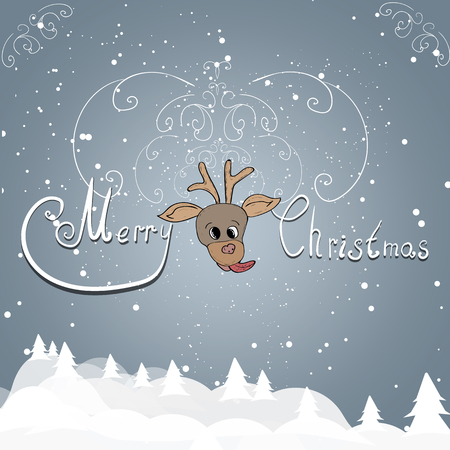 Christmas greetings on a gray background with a funny deer.