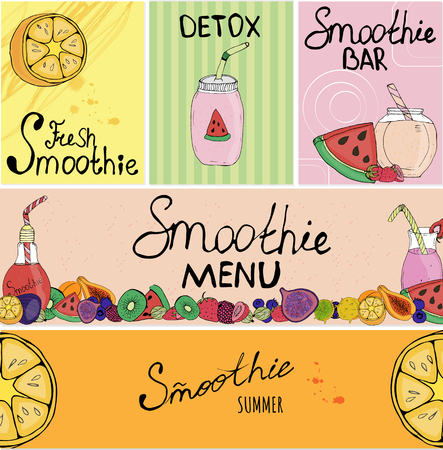 Banner, business card, flyer, detox, vegan, lettering, fruit, tableware, smoothie