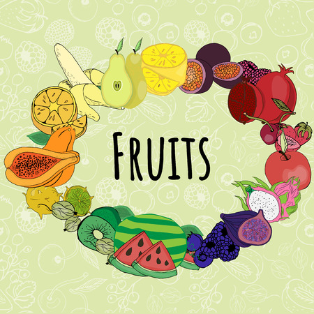 fruits on white background 向量圖像
