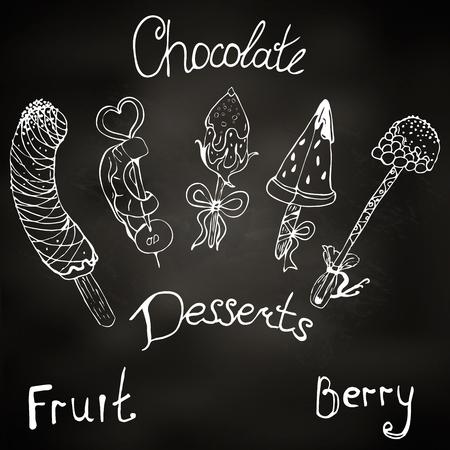 dessert, fruit, strawberries, raspberries, pineapple, banana, watermelon on a chalk board