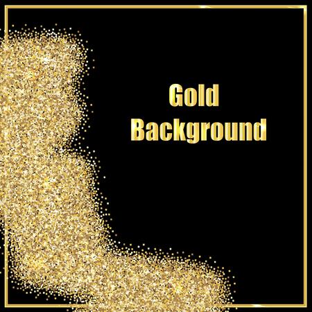Vector illustration of gold sequins on a black background.