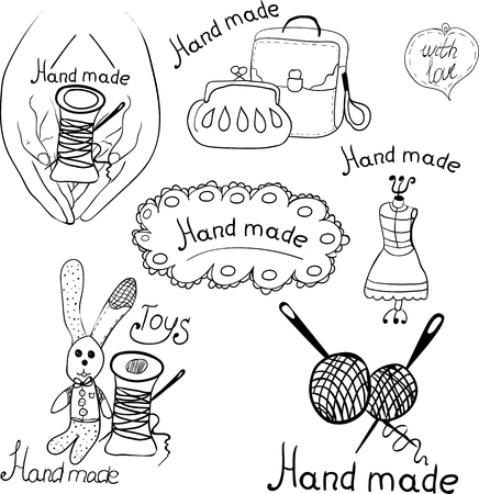 logos for products made by hands. Black white graphic image