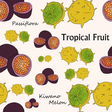 Modèle sans couture de vecteur avec des fruits tropicaux aux couleurs vives, patern sans couture.