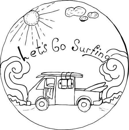 coloring antistress journey, let go surfing 向量圖像