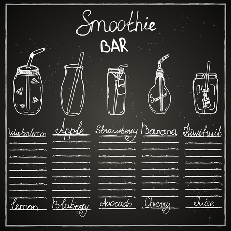 Chalk board, bar menu, cafe, smoothies, drinks, juices, recipe, ingredients, dishes, jars, mugs, tubes, fruits.