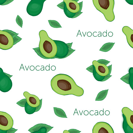Seamless vintage and cartoon style with green avocado and avocado with bone and leaf on beige background with words