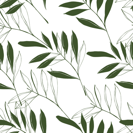 Floral seamless pattern consisting of different elements of foliage, tropical leaves of green color on a white background.