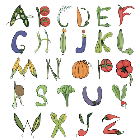 Colored alphabet made up of different vegetables on a beige background in vintage style