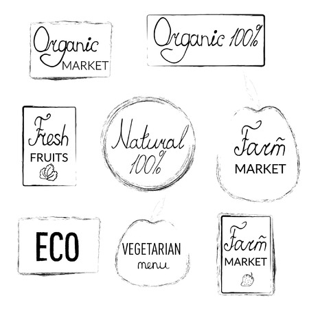 Logos of farm, natural products, lettering on  transparent background in vintage style, decorative elements
