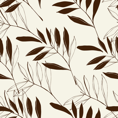 Floral pattern of tropical leaves of green color on a white background. 向量圖像