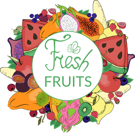 vintage cartoon-style card with a logo and colorful, bright fruit