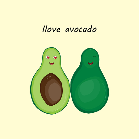 Illustration with the image of cheerful avocados in the style of a childs illustration on a beige background with the inscription I love avocados.