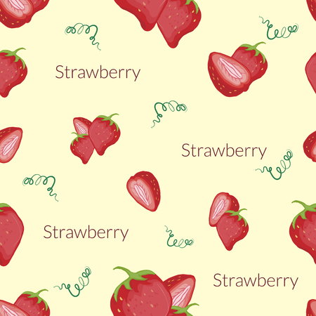 Seamless pattern with the image of juicy strawberries in vintage style, handmade style, cartoon style with typography.