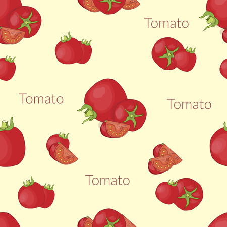 Seamless pattern with the image of juicy tomatoes in vintage style, handmade style, cartoon style with typography 向量圖像