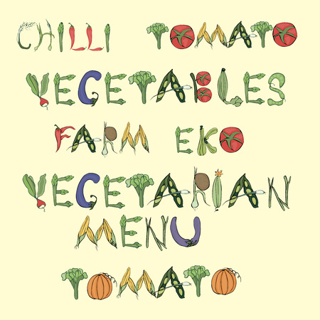 Illustration depicting the words consisting of vegetables in vintage style on a beige background.