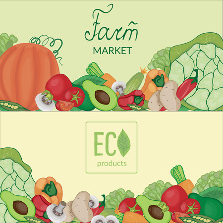 Vintage cards with the image of farm fruits and vegetables with logos and lettering on a beige and green background. 向量圖像