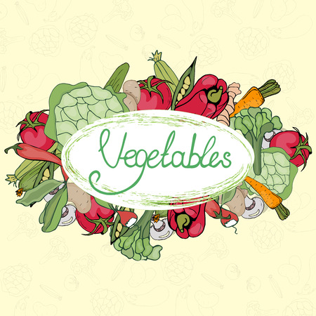 Illustration on the theme of farming products, vegetables and fruits with a letter in vintage style