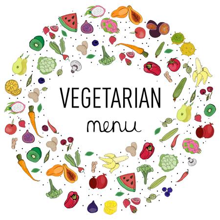 Vegetables and fruits arranged in a circle and lettering vegan menu, decoration, vegetable design