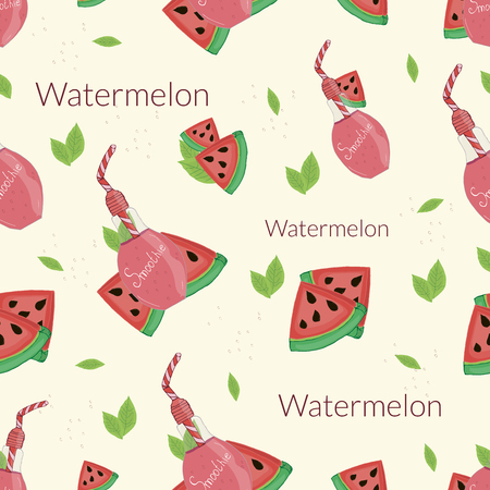 Watermelon smoothies on a beige background
