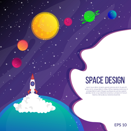 Illustration depicting a rocket, space and bright planets