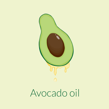 Illustration showing a cut avocado with a drop of oil on a beige background