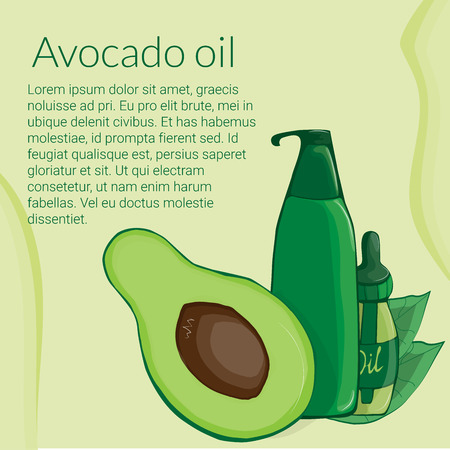 illustration with the image of avocado and various cosmetic jars and foliage