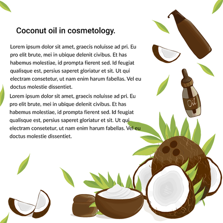 Illustration of a coconut, coconut leaves and coconut cosmetics