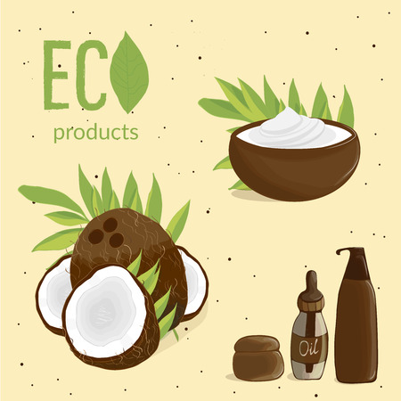Illustration of coconut, coconut leaves and coconut cosmetics on beige background