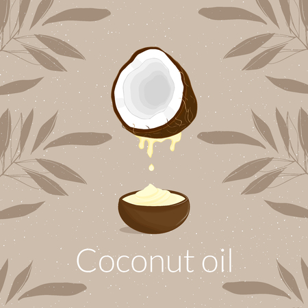 Illustration with coconut and coconut oil and oil with cream and cream on a brown background