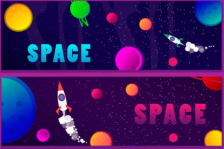 Banners with the image of bright space in the style of cartoon