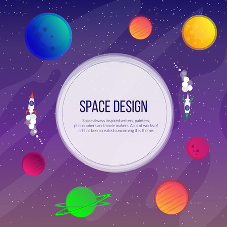 Space illustration, bright planets and stars